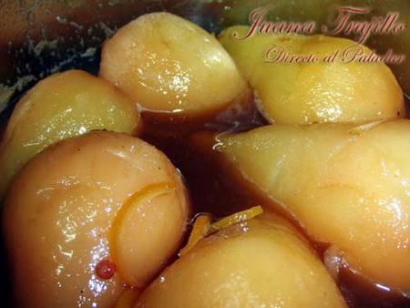 Peras con miel especiada. Receta