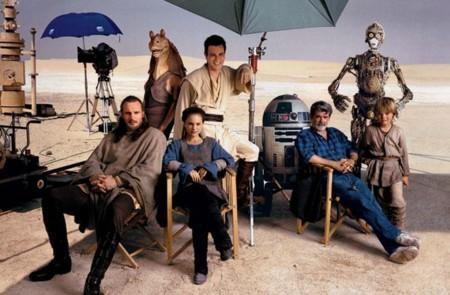 George Lucas y los protagonistas del Episodio I: La Amenaza Fantasma