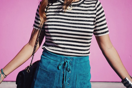 Pink Wall Los Angeles La Suede Skirt Striped Top Sneakers Sandro Outfit Travels 11