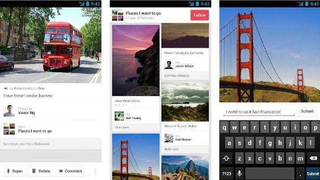Pinterest cuenta ya con aplicación para Android y también para iPad