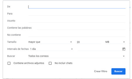 Search filters are available on the Gmail web, but not in the app