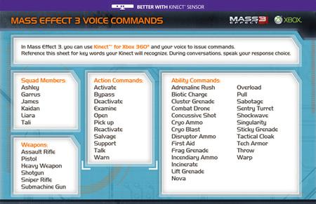 Comandos de voz Kinect Mass Effect 3 01