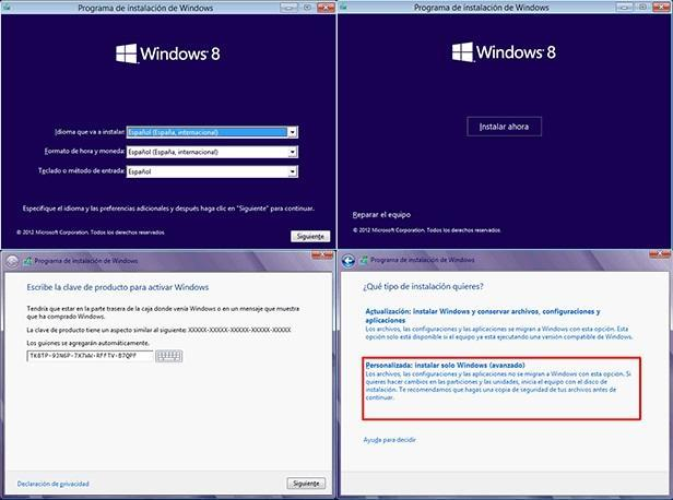 Pasos instalación Windows 8
