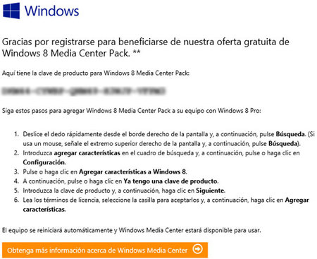 Windows Media Center, email con serial