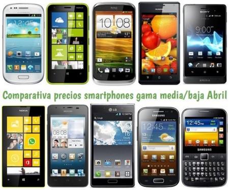 Comparativa Precios Smartphones más baratos Abril 2013