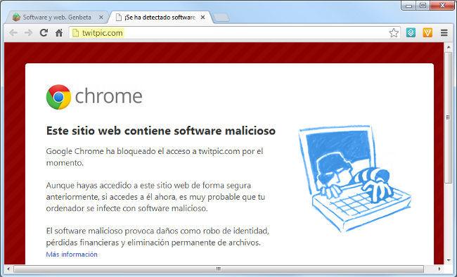 TwitPic señalado como malware por Chrome