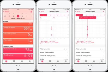 Tensiómetro iPhone integración Salud iOS