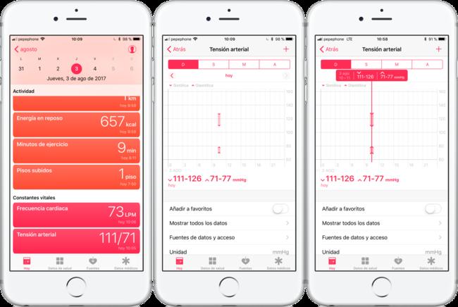 Tensiómetro iPhone incorporación Salud iOS
