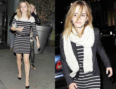 Emma Watson se une a la moda de las rayas y más...
