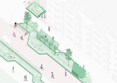 Concepto de las nuevas calles de Suecia con zonas verdes.