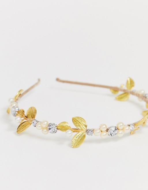 Diadema para ocasiones especiales con hoja dorada y perlas de ASOS