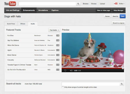 YouTube, buscador de temas de audio