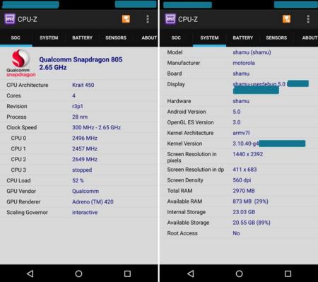 Motorola Shamu - alias Nexus 6 - deja su huella también en CPU-Z