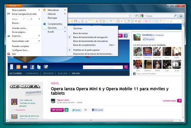 La nueva interfaz de Firefox con el menú integrado