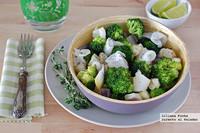 Ensalada de berenjena y brócoli con bacalao ahumado. Receta