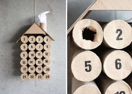 Calendario de adviento para hacer en casa con rollos de papel higiénico