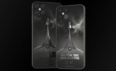 """Alguien creó un """"iPhone 12 Pro"""" inspirado en SpaceX con la firma de Elon Musk en titanio y nos lo quiere vender en 5,000 dólares"""