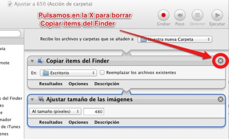 Eliminamos Copiar items del Finder, ya que no lo necesitamos.