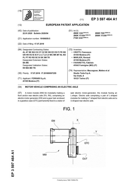 Ferrari Electric Patent Ep3597464a1 Main