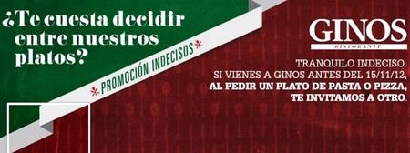 ¿Conoce la promoción 'Indecisos' de los restaurantes Ginos?