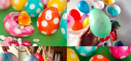 Original manualidad con niños: huevos de Pascua hechos con papel maché