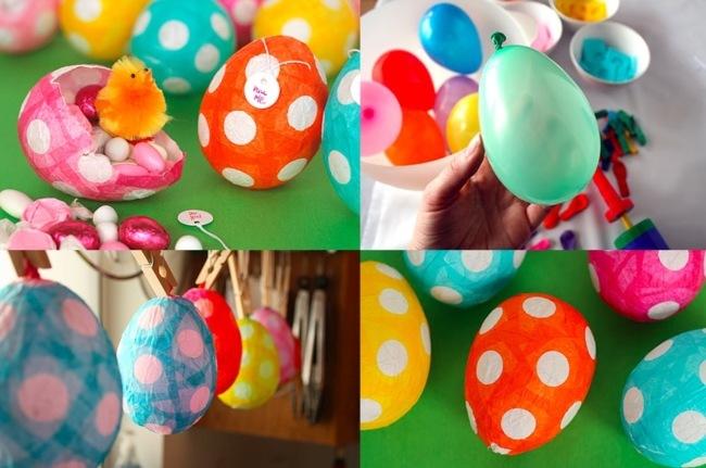 Huevos de Pascua papel maché