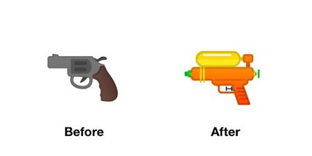 Pistol Emoji Android P Before After