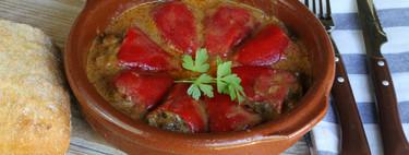 Pimientos rellenos de rabo de toro, receta de aprovechamiento de sobras