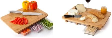 Mocubo: tabla de cortar con tres pequeños cajones