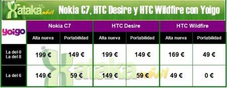 Nokia C7, HTC Desiré y Wildfire con Yoigo