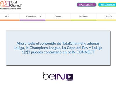 TotalChannel redirige a quien se quiere registrar a beIN CONNECT, ¿se acerca su cierre definitivo?