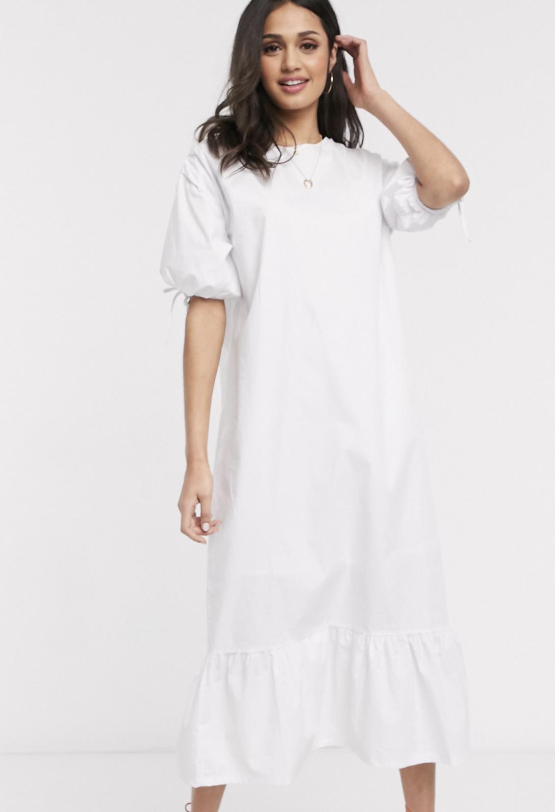 Vestido midi de algodón con peplum en el bajo y manga abullonada de Daisy Street