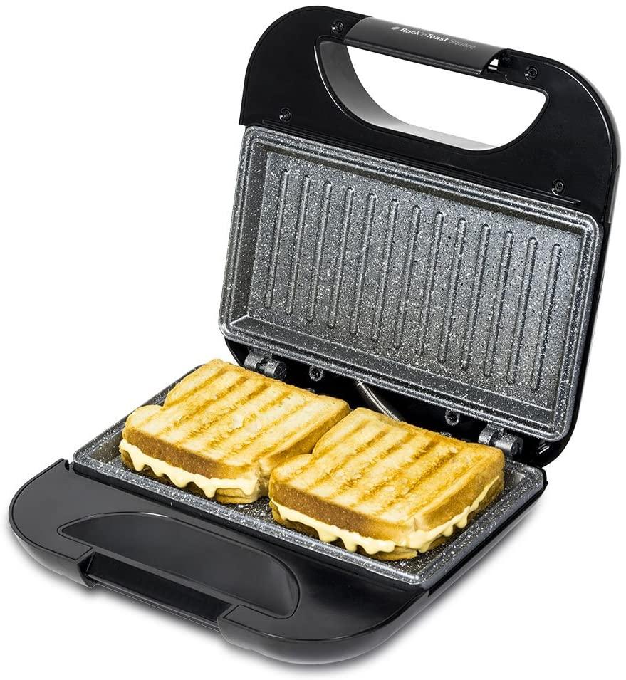 Cecotec Rock'nToast Sandwich Squared - Sandwichera con Revestimiento Antiadherente, Capacidad para 2 Sandwiches, Superficie Grill, Asa Tacto Frío, Recogecables, 750 W