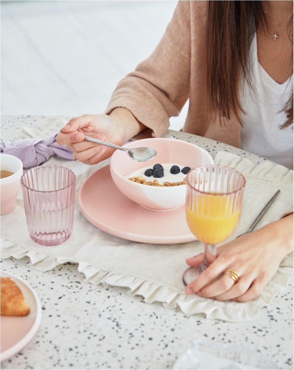 Bol grande Sayuri de porcelana rosa y blanco