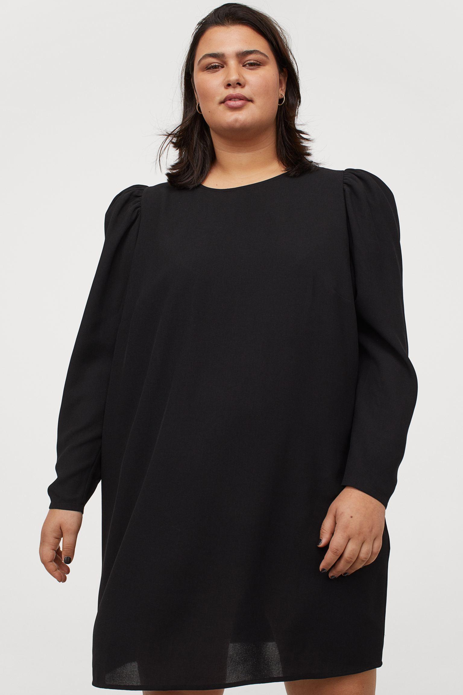 Vestido negro manga puffy