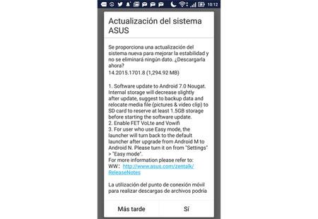 Zenfone 3 Nougat Actualizacion