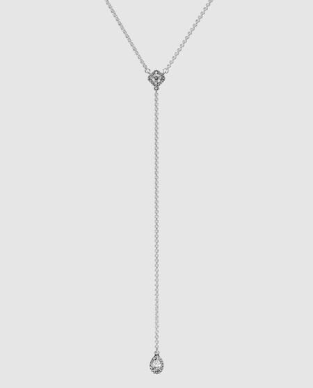 Collar Pandora Y Sombras Geometricas De Plata Y Circonitas