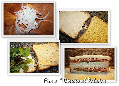 Preparación del sandwich de salmón dos salsas