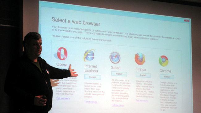 Pantalla de elección de navegador