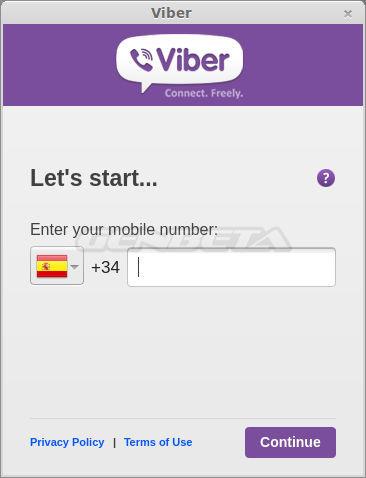 Configuración inicial de Viber para Linux, paso 2