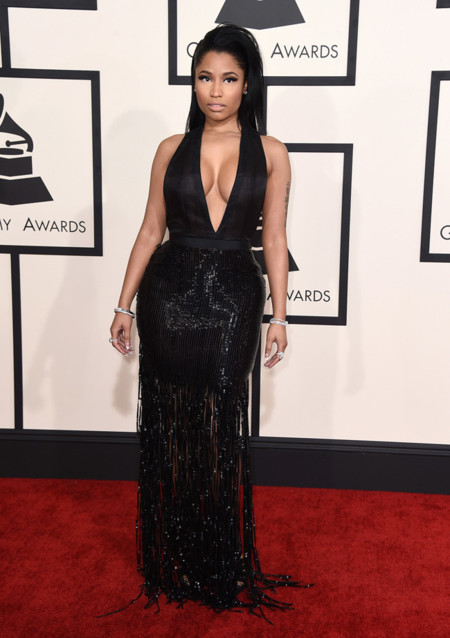 Nicki Minaj escote Tom Ford Grammy 2015