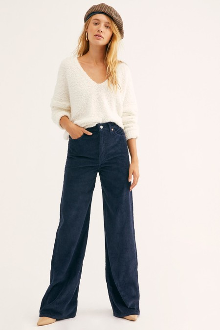 Free People Navy Blue Cord Levis Ribcage Cord Wide Leg Pants