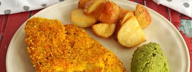 Pescado con cúrcuma y papas horneadas con vinagre y sal. Receta