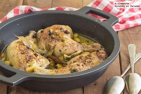 Pollo asado con aceitunas verdes y alcaparras. Receta