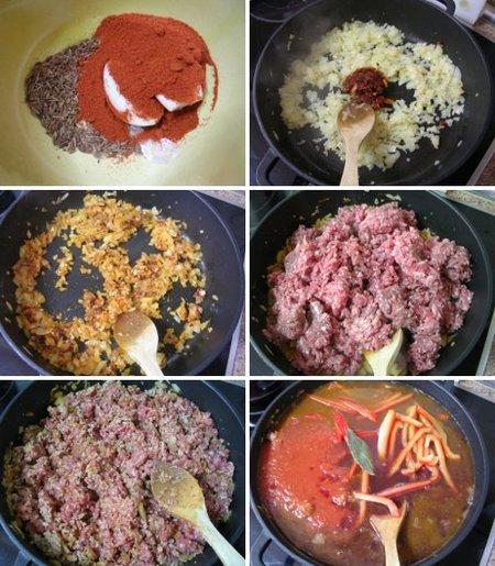 Elaboración de la carne al pimentón