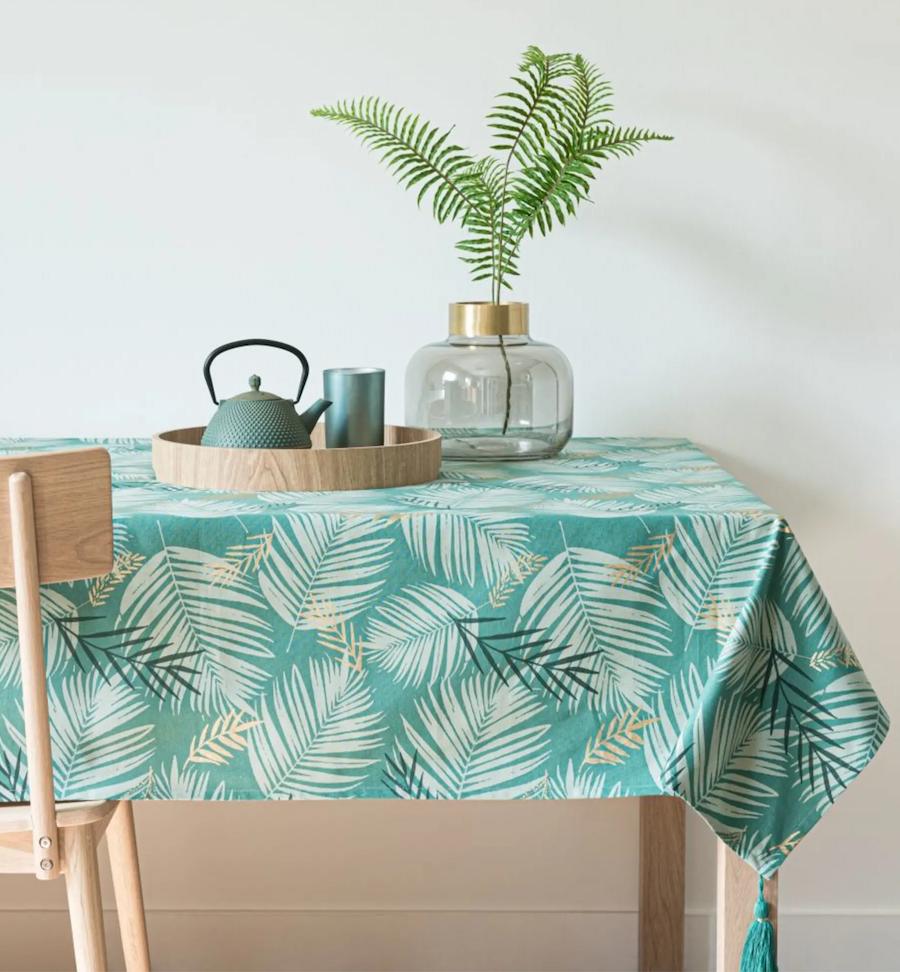 Mantel de algodón verde con estampado de hojas tropicales 150x250