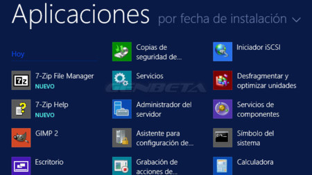 Windows 8.1, aplicaciones organizadas ppor fecha