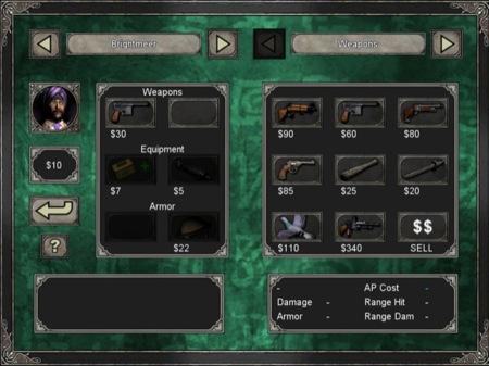 Inventario de uno de los personajes y posibilidad de compra de objetos, armas y demás