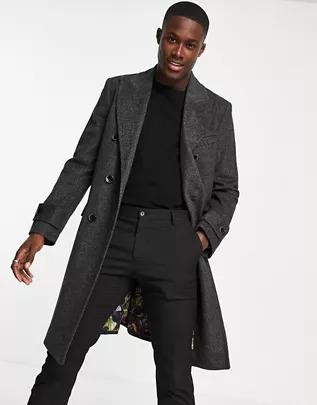 Abrigo con doble botonadura de mezcla de lana de Harry Brown