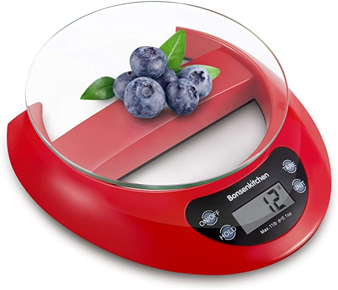 Bonsenkitchen Báscula Digital Balanza de Cocina Profesional, Escala de Peso de Alta Precisión con Vidrio Desmontable y Pantalla LCD - 5 kg / 11 lb, Báscula de Alimentos Electrónica Rojo (KS8802)